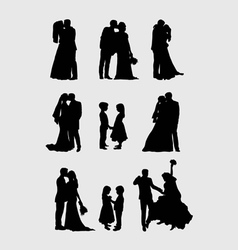 Wedding pairs silhouettes vector