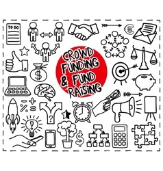 Crowd funding doodle set vector image