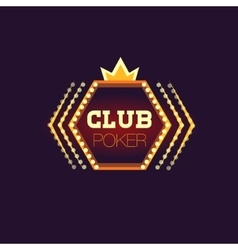 Crowned poker club neon sign vector