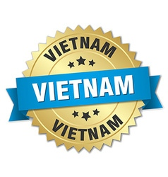 Vietnam round golden badge with blue ribbon vector