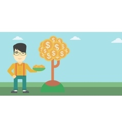 Businessman catching dollar coins vector