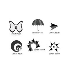 abstract butterfly umbrella arrow logo icons set vector image vector image