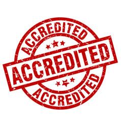 Accredited round red grunge stamp vector