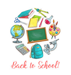 back to school poster with supplies vector image vector image