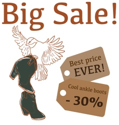 Big sale with cute bird ankle boots vector