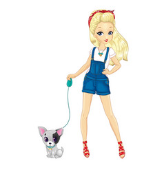 Blonde girl walking with dog vector