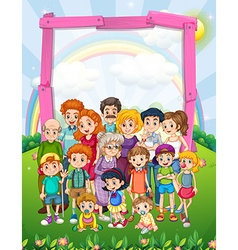 Border design with family members in the park vector