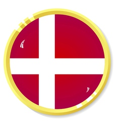 button with flag Denmark vector image vector image