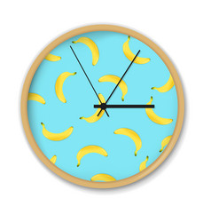 Clock with banana pattern vector