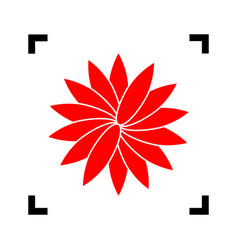 Flower sign red icon inside black focus vector