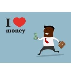 Happy black businessman in love money concept vector