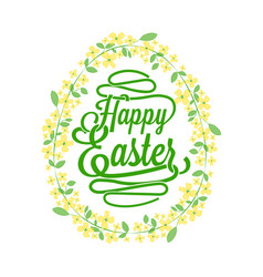Happy easter greetings card calligraphic lettering vector