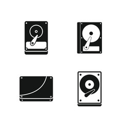 hard disk icon set simple style vector image