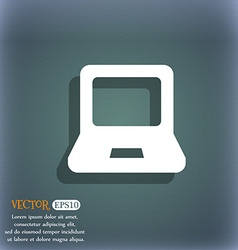 Laptop icon symbol on the blue-green abstract vector image