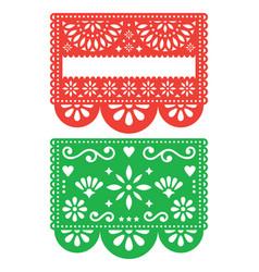 Mexican papel picado template design set vector