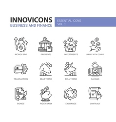 Modern office and business line flat design icons vector image vector image
