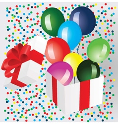 Open gift box with balloons vector image