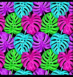 pink monstera seamless pattern vector image vector image