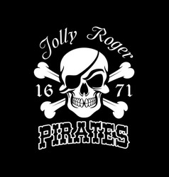 Pirate skull and crossbones jolly roger symbol vector