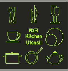 pixel art outline kitchen utensil icons vector image