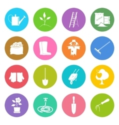 Round multicolored icons gardening equipment vector