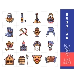 Russian culture color thin line icons Russia vector image vector image
