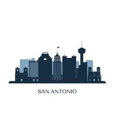 San antonio skyline monochrome silhouette vector