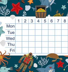 Schedule for students timetable with lessons for vector image vector image