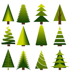 set decoration christmas trees winter design vector image vector image