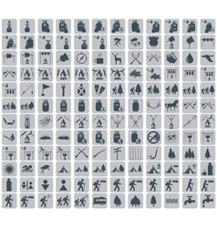 Set of camping equipment pictograms icons vector