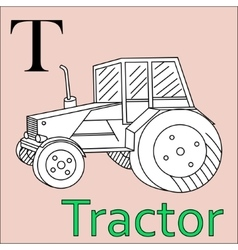 T letter alphabet Coloring book tractor vector image