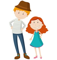 Tall man and short girl vector image vector image