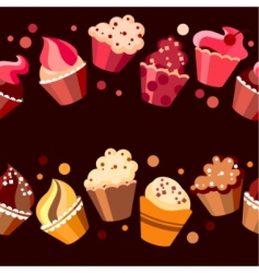 two seamless cupcake borders vector image vector image