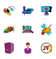 Virus icons set cartoon style vector