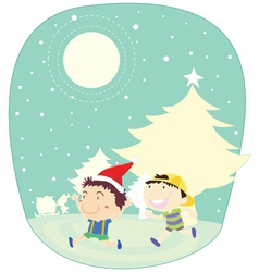 Winter kids vector image