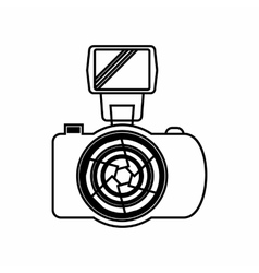 Photo camera with flash icon outline style vector