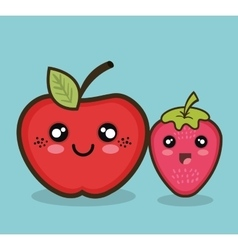 Kawaii fruit apple and strawberry graphic isolated vector