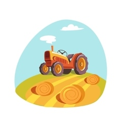 Tractor standing on the field with hay stacks vector