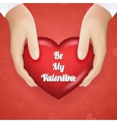 Realistic hand holding heart valentines day vector