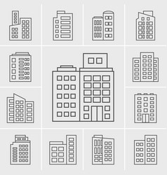 Line icons building set vector
