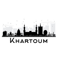 Khartoum city skyline black and white silhouette vector
