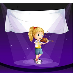 A girl performing at the stage with an empty vector
