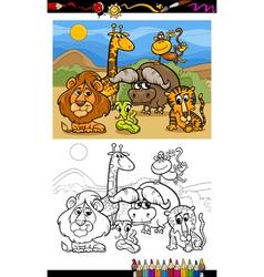 cartoon wild animals coloring page vector image