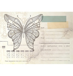 Vintage envelope with butterfly vector image