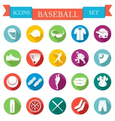 Set of icons flat about baseball vector