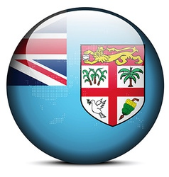 Map on flag button of republic of fiji vector