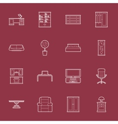 Furniture thin lines icon set vector