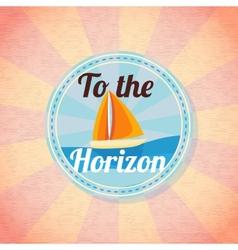 Summer yacht sailing retro background vector