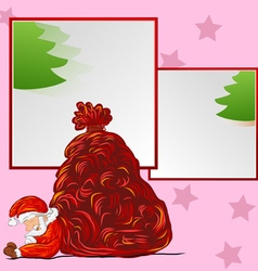 Hand drawn santa sleeping on frame vector