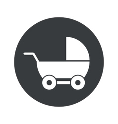 Monochrome round pram icon vector